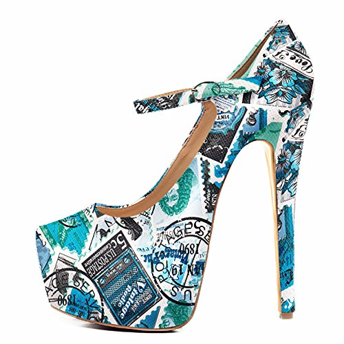Damen Pumps High-Heels Stiletto Mary Jane mit Plateau Schnalle Blau EU35