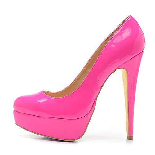 Damen Pumps Lackleder High-Heels Stiletto mit Plateau Rutsch Pink EU42