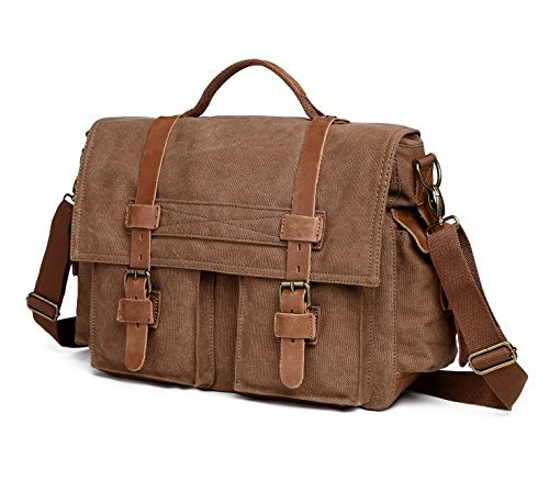 EverVanz Herren Vintage Leinwand und Leder Satchel Schule Military Schultertasche Messenger für Notebook Laptop Macbook