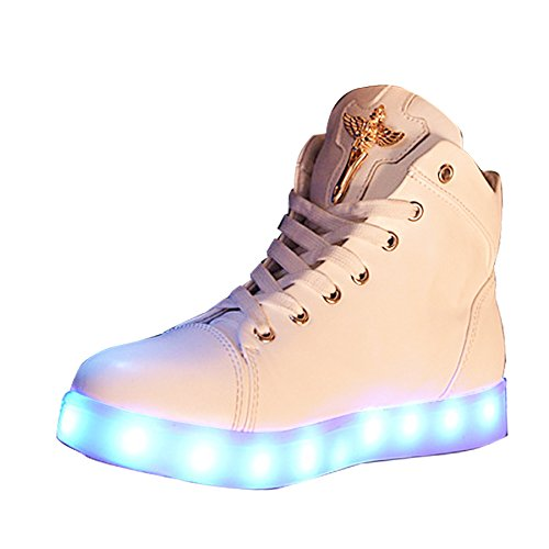 Gaorui Damen High-Top LED Light Glow Sneaker Multi-Color-Blink Turnschuhe Sportsschuhe USB Aufladen Gebühre Weiß für Unisex-Erwachsene Herren Damen