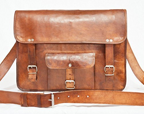 Herren Retro Leder Messenger Schultertasche, Laptop Aktentasche attache Staubbeutel