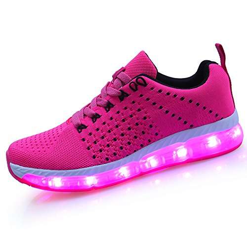 LED Blink Sport Schuhe 7 Farben Leuchtende Sneakers Light Up Turnschuhe USB Aufladen Leuchtschuhe Licht Laufschuhe Damen Herren,Rot 37