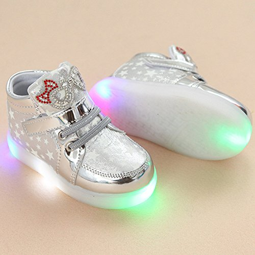 LED Schuhe Kids Light shoes, Stillshine - Girls blinken Sport Running Sneaker Baby shoes Halloween Christmas Gift (25, Weiß)