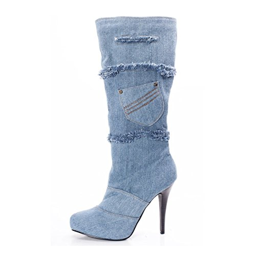 Onlymaker Damen High Heel Knee-High Zip Reissvertschluss Patchwork Langschaft Stiefel (45, Blau)