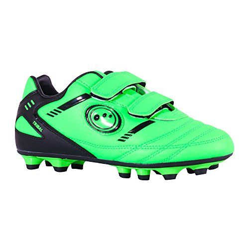 Optimum Jungen Tribal-Velcro Moulded Stud Fußballschuhe, Green (Fluro Green/Black), 32 EU (13 Kinder UK)