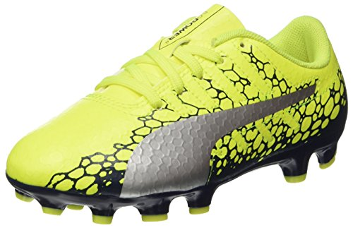 Puma Unisex-Kinder evoPOWER Vigor 4 Graph AG Jr Fußballschuhe, Gelb (Safety Yellow-Silver-Blue Depths), 34 EU