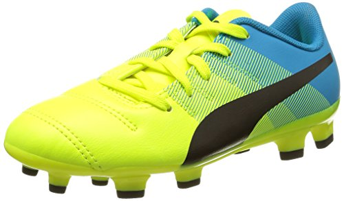 Puma evoPOWER 4.3 FG Jr, Unisex-Kinder Fußballschuhe, Gelb (Safety Yellow-Black-Atomic Blue 01), 37 EU (4 Kinder UK)