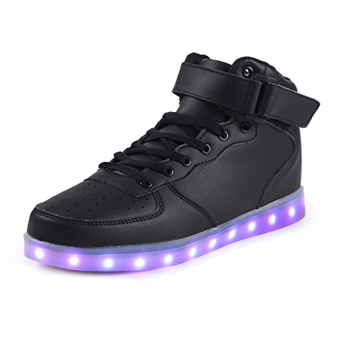SAGUARO 7 Colors USB Charging LED Lighted Luminous Couple Casual Sport Shoes High Top Sneakers For Unisex Men Women Black Size 45