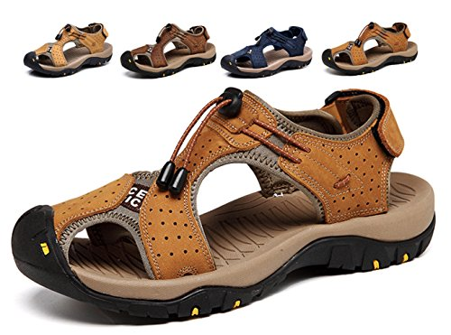 Sommer Neue Outdoor Herren Strand Schuhe Leder Casual Schuhe Korean Breathable Wxposed Toe Leder Sandalen Baotou Anti-Rutsch