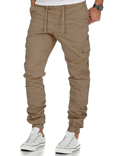 Amaci&Sons Herren Stretch Jogger Cargo Chino Jeans Hose 7007