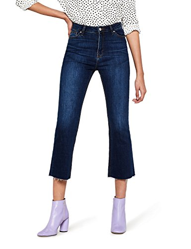 FIND Damen Flared Jeans Raw Hem Crop