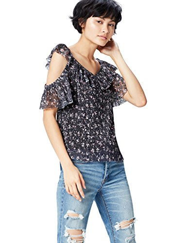 FIND Damen Halb-Transparente Cold Shoulder-Bluse