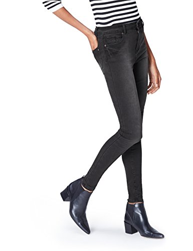 FIND Damen Röhrenjeans 5 Pocket Basic Washed Black