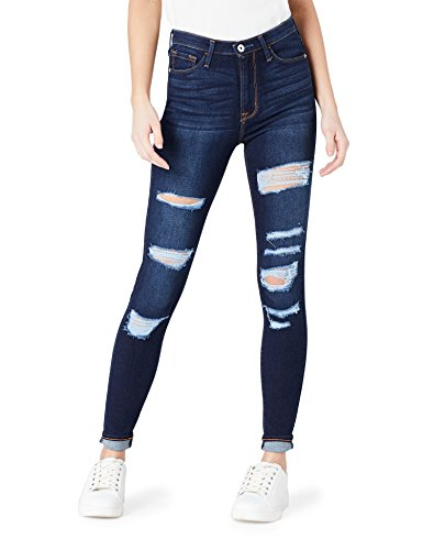 FIND Damen Skinny Jeans in Distressed-Optik