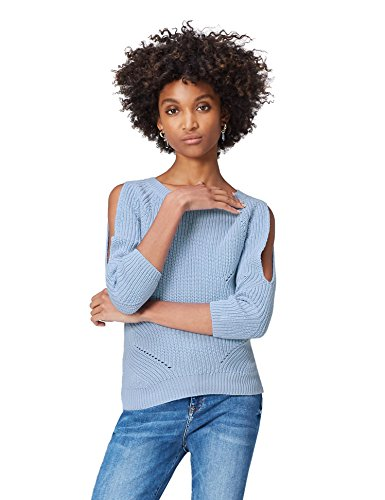 FIND Pullover Damen Off-Shoulder-Design und Lochstrickmuster