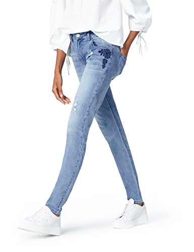FIND Slim Fit Jeans Damen Blumenstickerei Distressed-Look