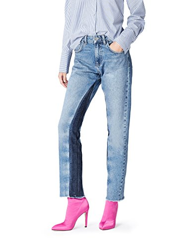 FIND Straight Fit Jeans Damen Patchwork und mittelhoher Bund