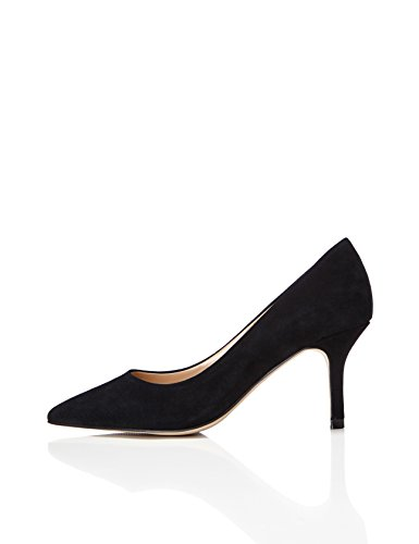FIND Pumps Damen High Heels Aus Veloursleder, Schwarz (Black), 38 EU