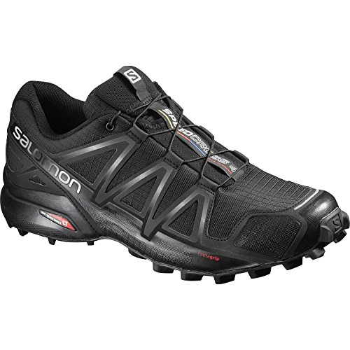 Salomon Speedcross 4 Herren Trailrunning-Schuhe, Black/Black/Black Metallic, 48 EU