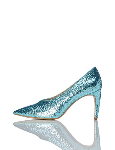 1951264507 1 - FIND Damen Glitter Court Pumps, Grün (Aqua), 39 EU