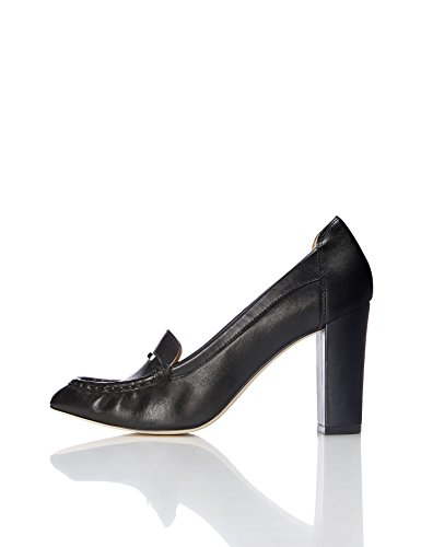 1985806798 1 - FIND Pumps Damen Aus Leder mit Loafer-Design, Schwarz (Black), 39 EU