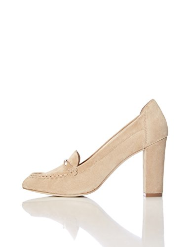 FIND Pumps Damen Aus Rauleder mit Loafer-Design, Beige (Light Tan), 37 EU