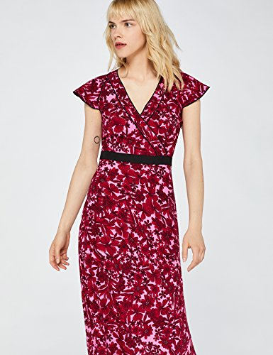 602657595 1 - FIND Damen Kleid tailliert, mit Blumenprint, Rot (Red), Large