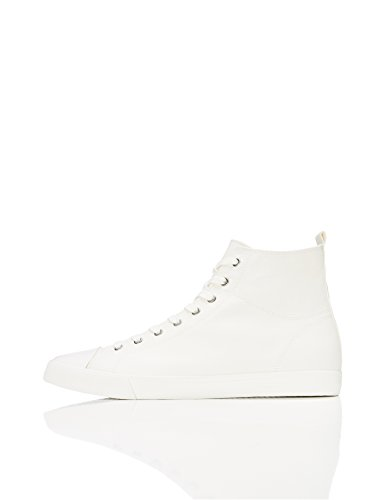 FIND Sneaker Herren Canvas-High Tops mit Retro-Design, Weiß (White), 43 EU