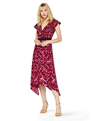 771150480 1 - FIND Damen Kleid tailliert, mit Blumenprint, Rot (Red), Large