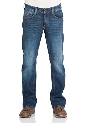 Mustang Herren Jeans Oregon - Bootcut - Blau - Light Blue - Mid Blue - Dark Blue, Größe:W 38 L 32, Farbe:Dark Blue Denim (982)