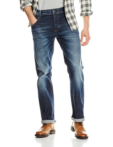 Mustang Herren Jeanshose Michigan Straight, Blau (Dark Rinse Used 593), W30/L34