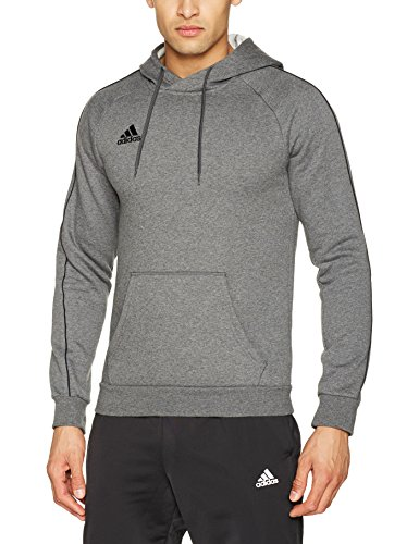 adidas Herren Core 18 Kapuzenpullover, Dark Grey Heather/Black, XL