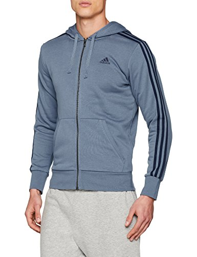 adidas Herren Essentials 3-Streifen Full-Zip Hoodie, Raw Steel/Collegiate Navy, M