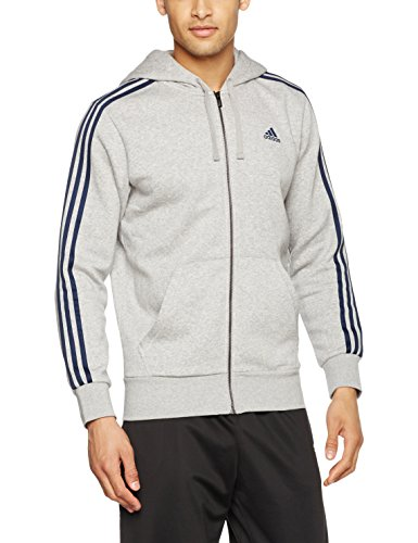 adidas Herren Essentials 3 Streifen Kapuzenjacke, Medium Grey Heather/Collegiate Navy, L