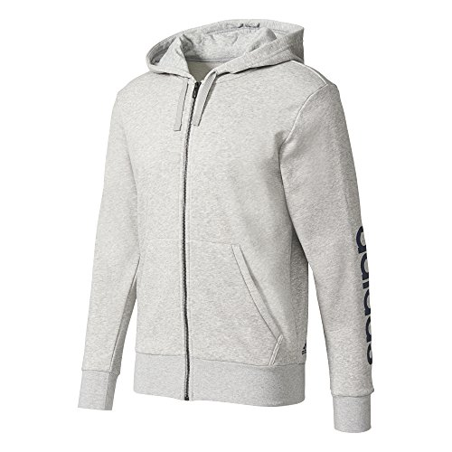 adidas Herren Essentials Linear Hoodie, Medium Grey Heather, M