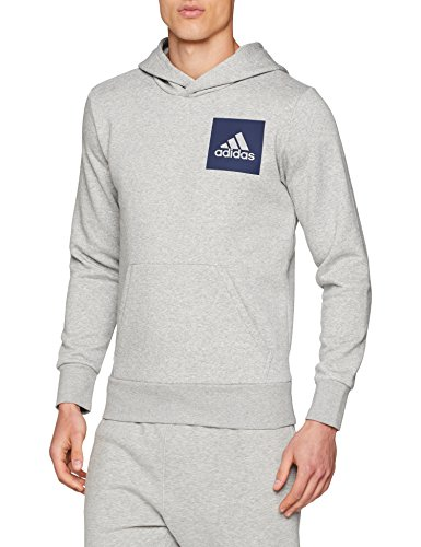 adidas Herren Essentials Logo Hoodie, Medium Grey Heather, XL