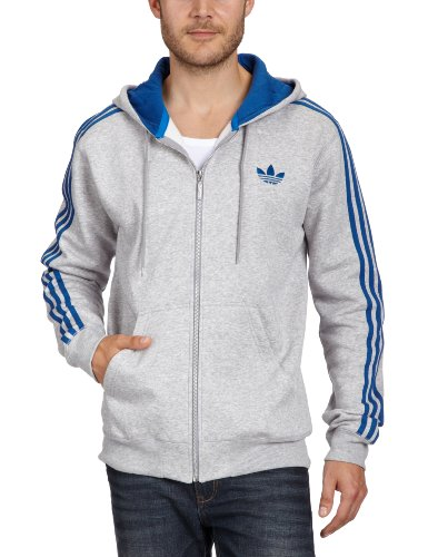 adidas Herren Sweatjacke Spo Hooded Flock, medium grey heather/lone blue/lone blue, XL, O55807