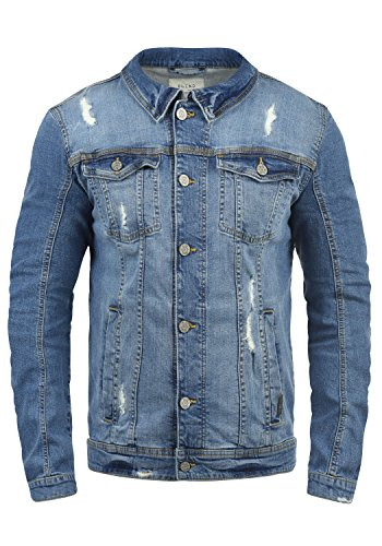 Blend Saitz Herren Jeansjacke Denim Übergangsjacke Mit Stehkragen Washed-Out Regular Fit, Größe:M, Farbe:Denim middleblue (76201)