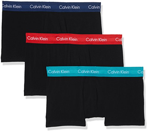 Calvin Klein Herren Boxershorts Low Rise Trunk 3PK, 3er Pack, Schwarz (Black W/Genoa/Black W/Red Heat/Black Wwd), Medium