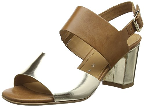 Gabor Obelisk, Damen Sandalen, Gold (Platinum Metal/Brown Leather), 38 EU (5 UK)