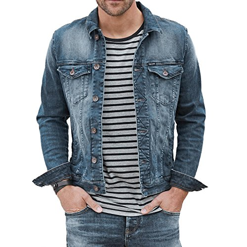 Garcia 800 2022 Herren Jeansjacke Used-Look Brusttaschen Schmale Form Stretch, Groesse M, Blau Used Denim