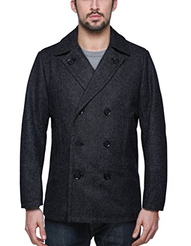 Match Herren Pea Coat Zweireiher & Slim Fit Winter-Mantel #1061(1061Mittel grau, Medium)