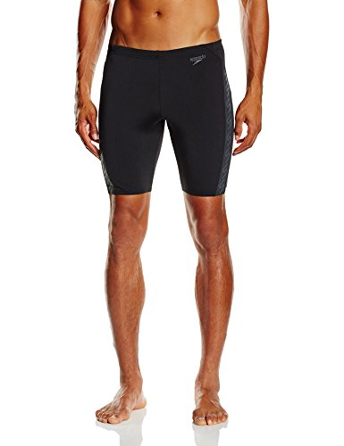 Speedo Herren Badehose Monogram Jammer, Black/USA Charcoal, 6, 8-0874388156