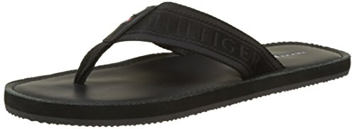 Tommy Hilfiger Herren Jacquard TH Leather Beach Sandal Zehentrenner, Schwarz (Black 990), 44 EU