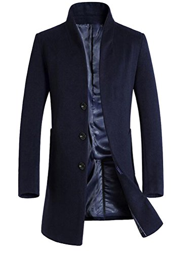 Vogstyle Herren Winter Slim Fit Wollmantel Business Überzieher Schlank Lange Windbreaker Jacken Blau M