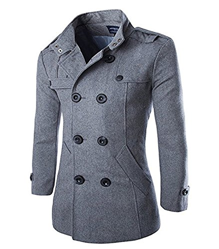 Wollmantel Herren Zweireiher Mantel Kurz Slim Fit Warm Herbst Übergangs Cabanjacke Peacoat Wintermantel
