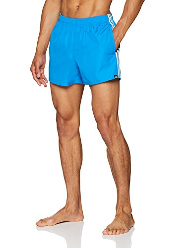 adidas Herren 3-Streifen Very Short Length Badeshorts, Bright Blue/Off White, L