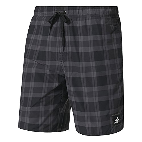 adidas Herren Checked Badeshorts, Black/Granite/Grey, S