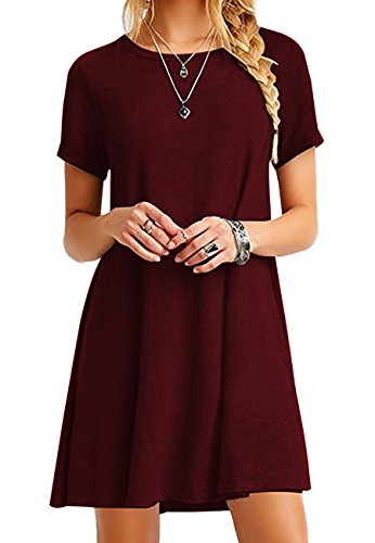 OMZIN Damen Winter Herbst Basic Kurzarm Casual Loose Dress Weinrot M