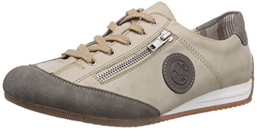 Rieker L9044 Women Low-Top, Damen Sneakers, Weiß (staub/offwhite/staub/42), 39 EU